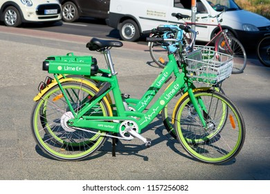 BERLIN, GERMANY – JUNE 07, 2018: Rental bikes of the company LimeBike from California in the city center of Berlin