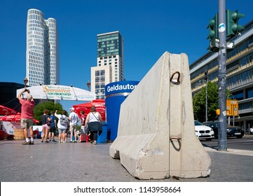 BERLIN, GERMANY – JUNE 08, 2018: Concrete barrier for counterterrorism on the Breitscheidplatz in the city center of Berlin