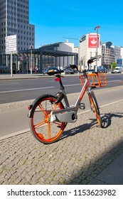 BERLIN, GERMANY – JUNE 08, 2018: Rental bike of the Chinese company Mobike on Potsdamer Platz in the city center of Berlin