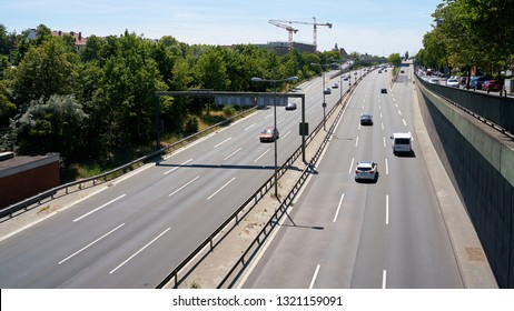 BERLIN, GERMANY – JUNE 08, 2018: Road traffic on a freeway in the city center of Berlin