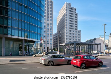 BERLIN, GERMANY – JUNE 08, 2018: Road traffic at Potsdamer Platz in the center of Berlin. Potsdamer Platz in Berlin, is a popular nightlife area with shops, restaurants, cinema and theater.