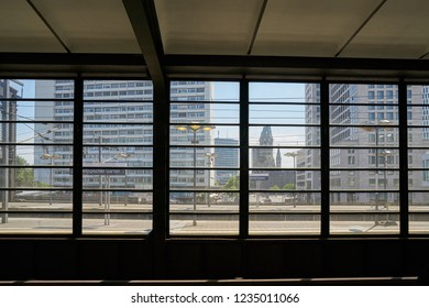 BERLIN, GERMANY – JUNE 09, 2018: View from a station platform of Station Bahnhof Zoo to the city center of Berlin