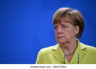 "BERLIN, GERMANY - JUNE 1, 2015: German Chancellor Angela Merkel at a press conference before a meeting of the ""European Round Table of Industrialists ERT"", Chanclery."