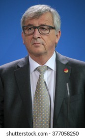 "BERLIN, GERMANY - JUNE 1, 2015: Jean-Claude Juncker at a press conference before a meeting of the ""European Round Table of Industrialists ERT"", Chanclery."