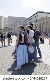 Berlin, Germany June 1 2019 Amish people visiting Berlin, Germany
