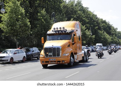 Berlin, Germany June 1 2019 A truck joins a procession
