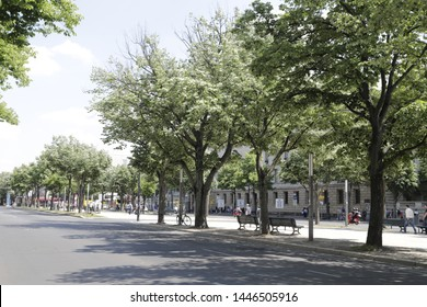 Berlin, Germany June 1 2019 Street with trees with the name; Unter Den Linden