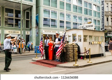 BERLIN, GERMANY - June 10. 2018: Checkpoint Charlie became a symbol of the Cold War, representing the separation of East and West.