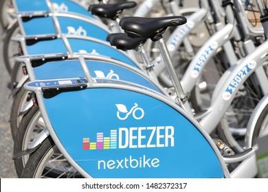 BERLIN GERMANY - JUNE 11, 2019: Deezer bicycle share Berlin Germany