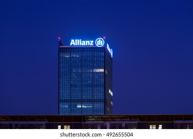 BERLIN, GERMANY - JUNE 12: The Allianz Tower at evening in Berlin Treptow, Germany, Europe jun 12 2015