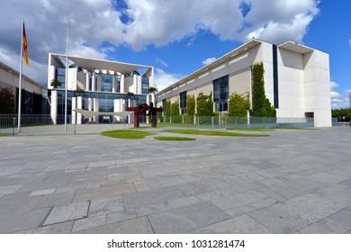 Berlin / Germany - June 15, 2014:  The Main Entrance of Federal Chancellery building - Bundeskanzleramt - in Berlin, Germany