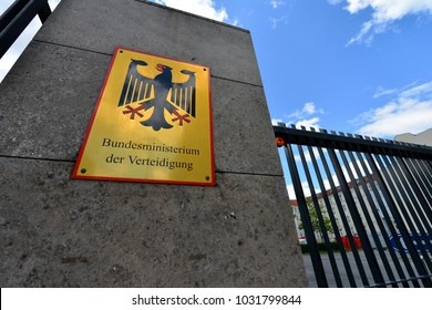 Berlin / Germany - June 15, 2014:  Sign at the entrance of Federal Ministry of Defense, Bendlerblock in Berlin is the secondary seat of Minister of defence, Germany