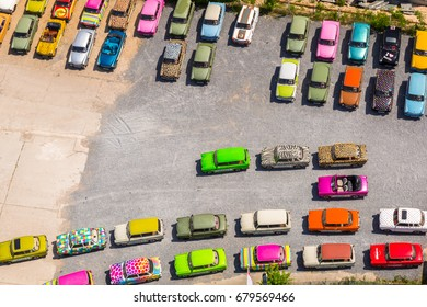 BERLIN, GERMANY - JUNE 15, 2017: Colorful vintage german cars on parking in Berlin, Germany. Berlin is the capital and the largest city of Germany with a population of approximately 3.7 million people