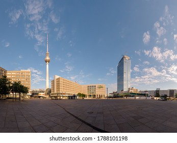 Berlin, Germany - June 15, 2020 - The famous Alexanderplatz with its buildings and its famous sights, like the Berlin TV tower