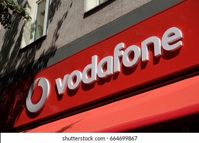 Berlin, Germany - June 19, 2017: Vodafone store. Founded in 1984 as Racal Telecom Ltd., Vodafone is a British multinational telecommunications company, with headquarters in London