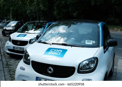 Berlin, Germany - June 19, 2017: Car2Go Smart cars. Car2Go is a subsidiary of Daimler AG providing car-sharing services in European and North American cities