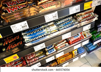 Berlin, Germany - June 19, 2017: Square format chocolate bars. Many brands are recognizable: Twix, Mars, Bounty, Kit Kat, Duplo