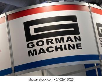 Berlin, Germany - June 19, 2018: Sign of Gorman Machine, American coil winding machines manufacturer of both toroid coils winders and bobbin winding machine