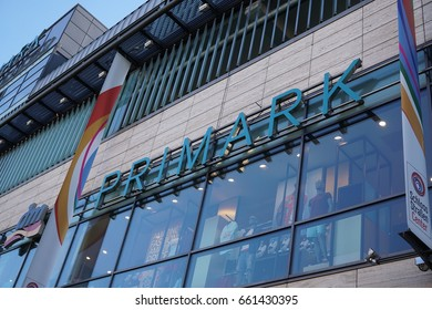 Berlin, Germany - June 2, 2017: Primark store. Primark is an Irish clothing retailer. Headquartered in Dublin, the company sells clothes at the low cost end of the market below average prices
