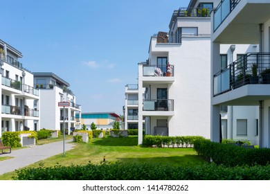 Berlin, Germany – June 2, 2019 real estate modern apartments and penthouses surrounded by grassy areas