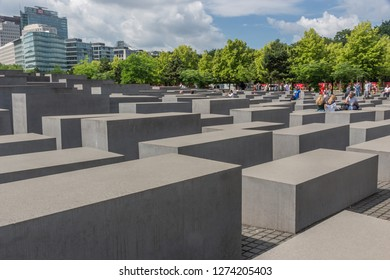 Berlin- Germany – June 2016 :  The Jewish Holocaust Memorial  (The Memorial to the Murdered Jews of Europe) designed by Peter Eisenman