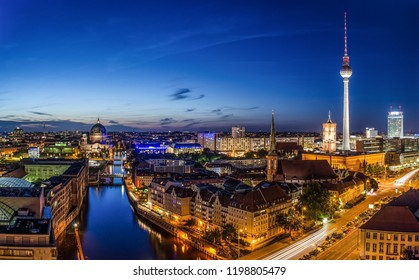 Berlin, Germany - June 2016: View to Berlin and TV Tower in capital of Germany