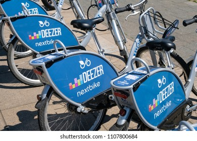 Berlin, Germany - june 2018: Bicycles of Deezer nextbike, a bike sharing company  in the city of Berlin.