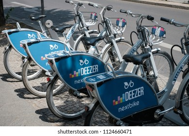 Berlin, Germany - june 2018:  Bicycles of Deezer nextbike, a bike sharing company  in the city of Berlin