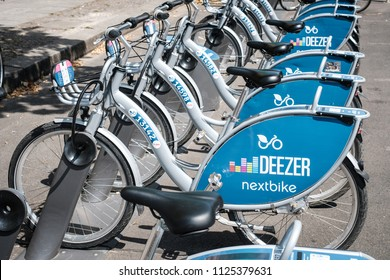 Berlin, Germany - june 2018: Bicycles of Deezer Nextbike, a bike sharing company    in Berlin, Germany