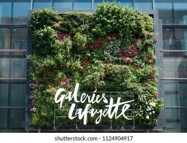 Berlin, Germany - june 2018:  Galeries Lafayette  logo on shopping mall facade in Berlin, Germany