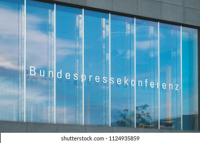 Berlin, Germany - june 2018:  The House of the Federal Press Conference (german: Bundespressekonferenz) bulding facade   in Berlin, Germany