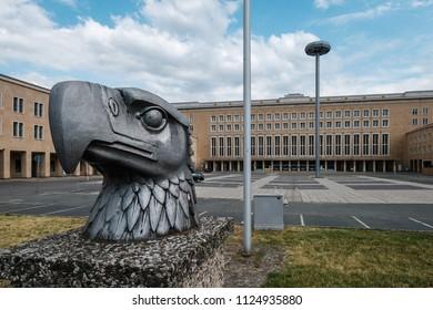 Berlin, Germany - june 2018: Tempelhof International Airport (Flughafen Tempelhof), a former airport in Berlin, Germany