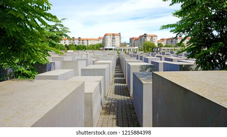 BERLIN, GERMANY - JUNE 21, 2017: Holocaust Memorial also known as Memorial to the Murdered Jews of Europe, Berlin, Germany
