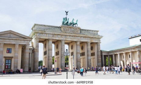 BERLIN, GERMANY - JUNE 21, 2017: Brandenburg gate (Brandenburger Tor) It's an 18th-century neoclassical triumphal arch in Berlin, one of the best-known landmarks of Germany