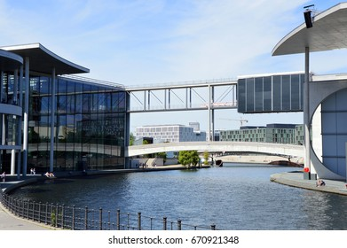 BERLIN, GERMANY - JUNE 21, 2017: Spree river passing between Paul-Lobe-Haus building and Marie-Elisabeth-Luders-Haus building in the government district of Berlin, Germany