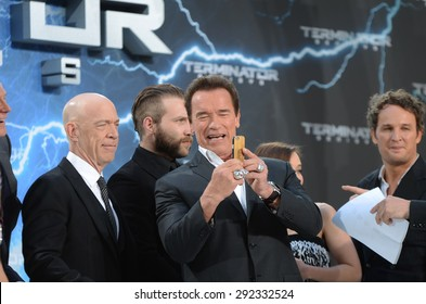 BERLIN - GERMANY - June 21: Arnold Schwarzenegger and J. K. Simmons at the Europe premiere from Terminator Genisys at CineStar,Sony Center on June 21, 2015 in Berlin, Germany.