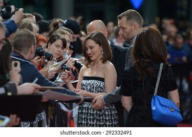 BERLIN - GERMANY - June 21: Emilia Clarke with Fans at the Europe premiere from Terminator Genisys at CineStar,Sony Center on June 21, 2015 in Berlin, Germany.
