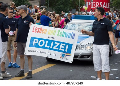 BERLIN, GERMANY - JUNE 22, 2013: Christopher Street Day. The annual European LGBT celebration and demonstration for the rights of LGBT people. Members of the City Police Department.
