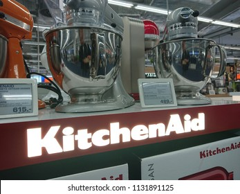 Berlin, Germany - June 22, 2018: KitchenAid stand mixers, American home appliance brand owned by Whirlpool Corporation