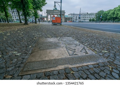 BERLIN, GERMANY - JUNE 23, 2018: Plate commemorating Ronald Reagan's 'Tear Down This Wall' speech, on the spot it was made on June 12, 1987.