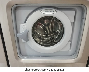 Berlin, Germany - June 25, 2018: Electrolux washing machine. Electrolux AB is a Swedish multinational home appliance manufacturer, producing primarily major appliances and vacuum cleaners