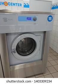 Berlin, Germany - June 25, 2018: Electrolux washing machines in a laundry shop. Electrolux AB is a Swedish multinational home appliance manufacturer