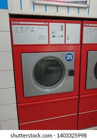 Berlin, Germany - June 25, 2018: Nyborg Commercial Electric Tumble Dryer by Electrolux AB, Swedish multinational home appliance manufacturer, producing primarily major appliances and vacuum cleaners
