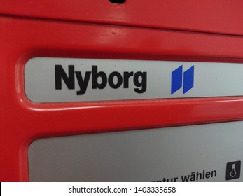 Berlin, Germany - June 25, 2018: Nyborg emblem on a tumble dryer manufactured by the Swedish company Electrolux Laundry Systems (formerly: Electrolux-Nyborg)