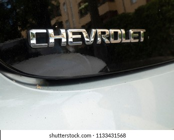 Berlin, Germany - June 27, 2018: Chevrolet Volt emblem. The Chevrolet Volt is a plug-in hybrid car manufactured by General Motors