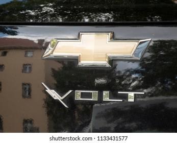 Berlin, Germany - June 27, 2018: Chevrolet Volt emblem. The Chevrolet Volt is a plug-in hybrid car manufactured by General Motors