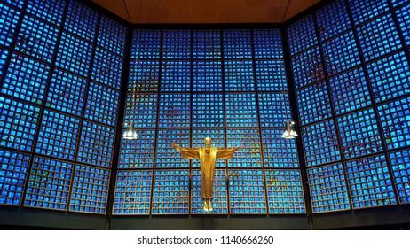 BERLIN, GERMANY - JUNE 28, 2018: Wilhelm Memorial Church interior in Berlin, Germany.