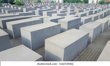 BERLIN, GERMANY - JUNE 28, 2018: Jewish holocaust victims memorial in Berlin, Germany.
