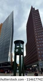 BERLIN, GERMANY - JUNE 28, 2018: Modern architecture in Potsdamer Platz in Berlin, Germany.