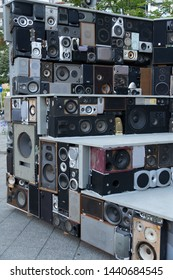 Berlin, Germany - June 28, 2019: ARENA by Rex Lingwood, Jago Whitehead and Johnny Camara: a mobile interactive sound sculpture made out of 320 recycled loudspeakers and e-waste